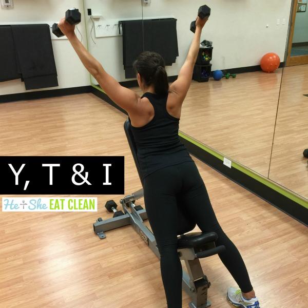 female doing Y, T & I Shoulder Exercise