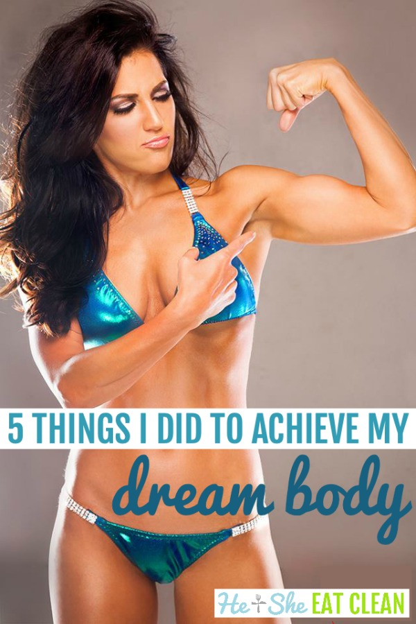 female in a blue swimsuit with text that reads 5 things I did to achieve my dream body