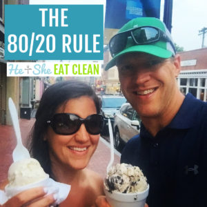 male and female holding ice cream smiling at the camera. text reads the 80/20 rule