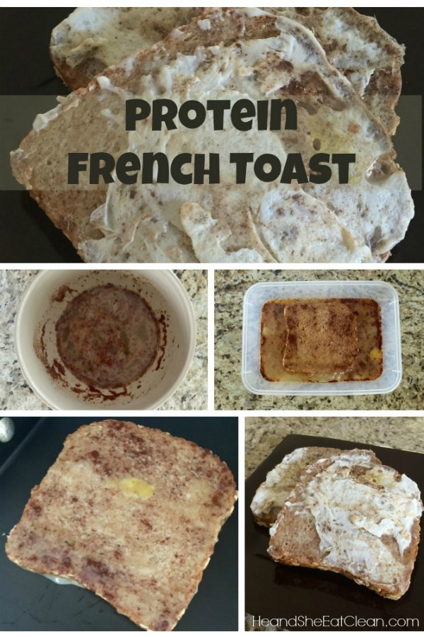 collage of process steps on how to make healthy french toast