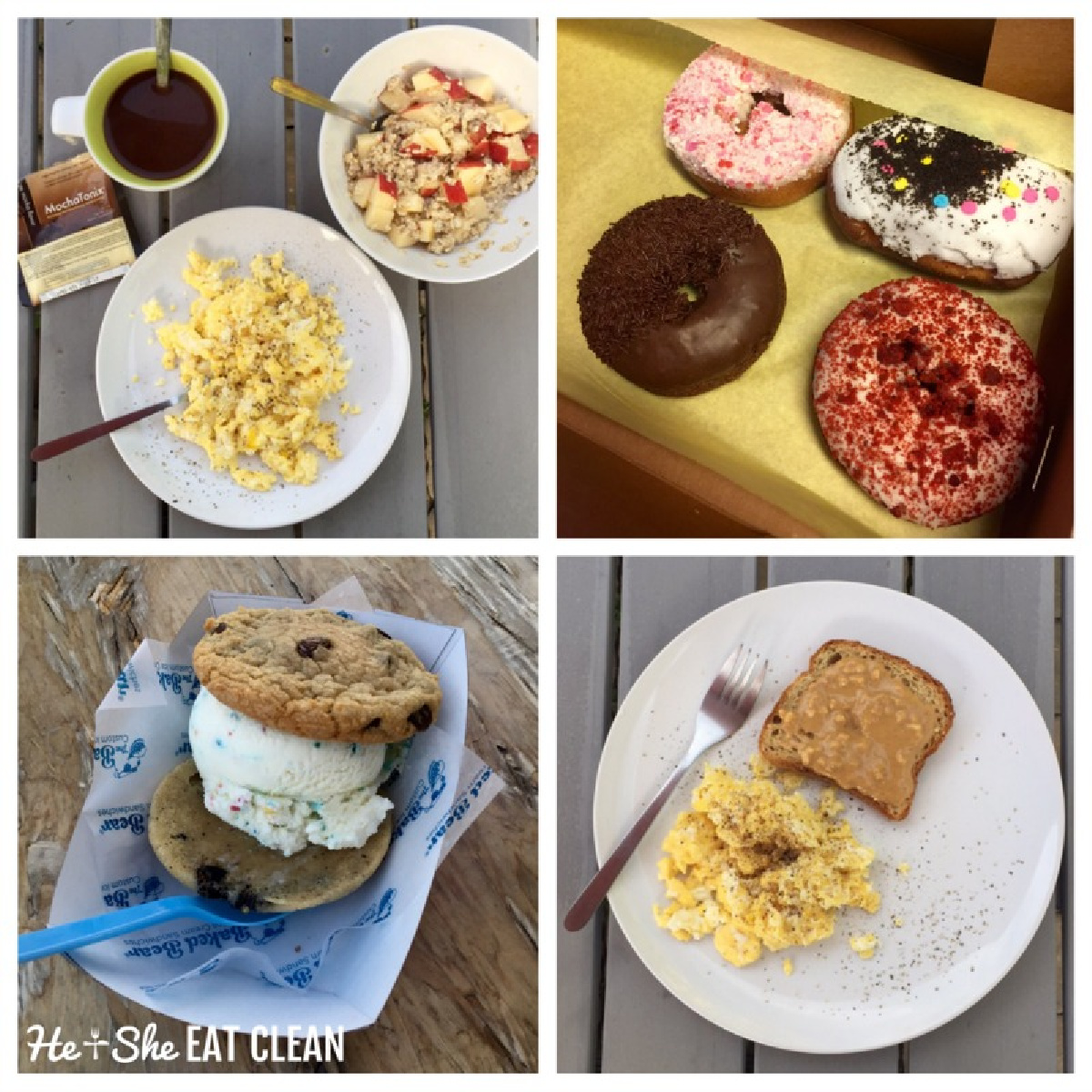 collage picture of eggs and oatmeat and eggs and toast with donuts and an ice cream sandwich
