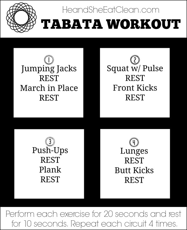 Full Body Tabata Workout with workout listed