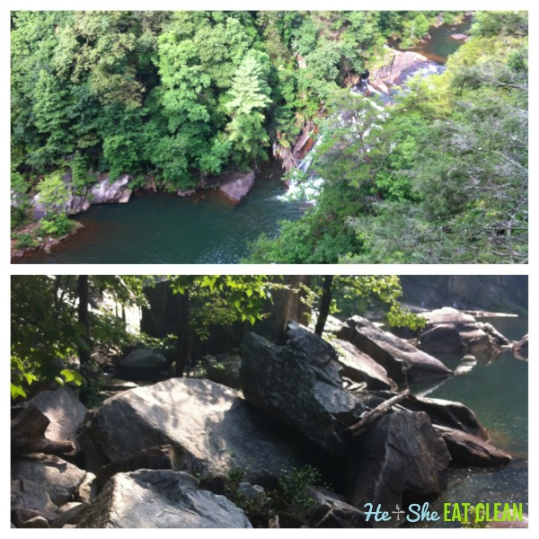 collage of Hiking Tallulah Gorge Sliding Rock Trail in Tallulah Gorge State Park (GA)