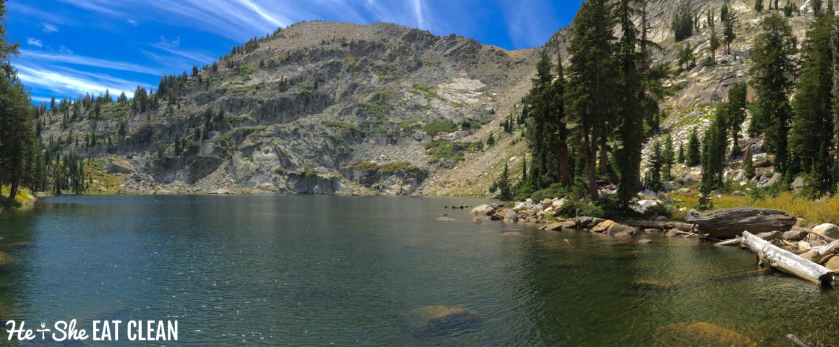 lake with mountain in the background: High Sierra lake in Yosemite National Park