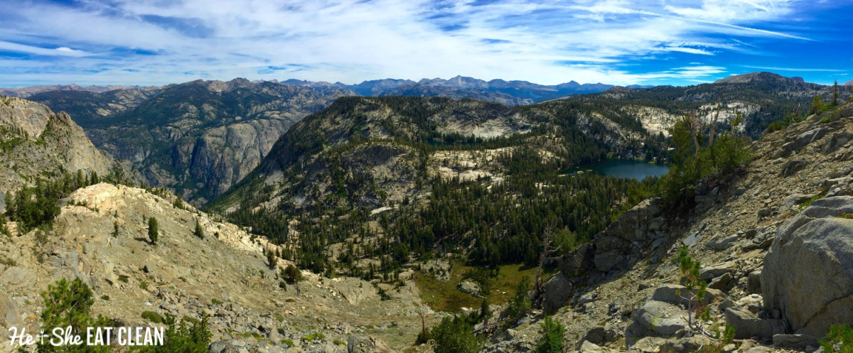 Grand Canyon of the Tuolomne: panoramic view of mountains, trees, and lake