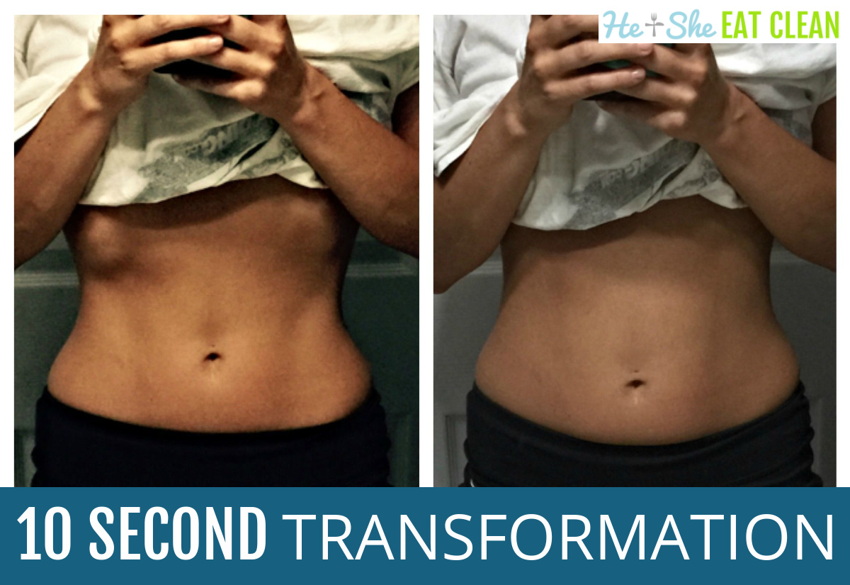 before and after front view pictures of female midsection. text reads 10 second transformation