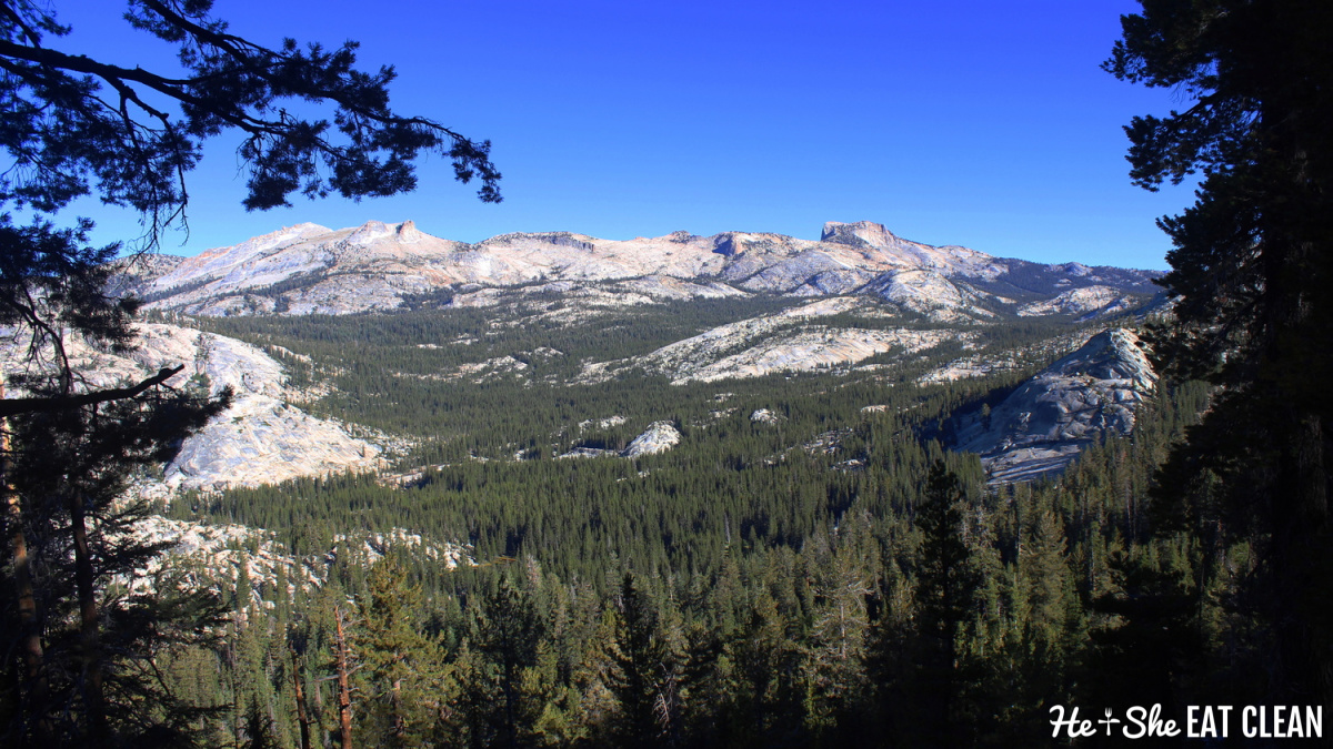 view of large granite mountains in the distance - Clouds Rest hike in Yosemite National Park