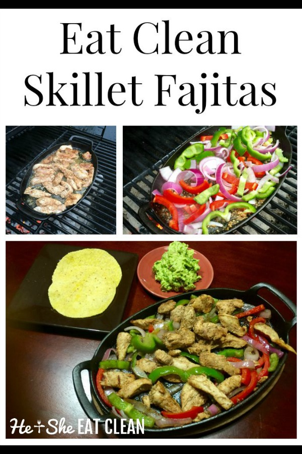 skillet fajitas with peppers and onions on top on a grill collage