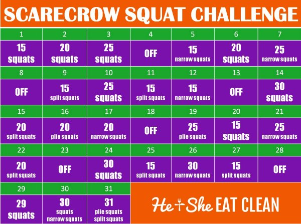 31-day scarecrow squat challenge chart
