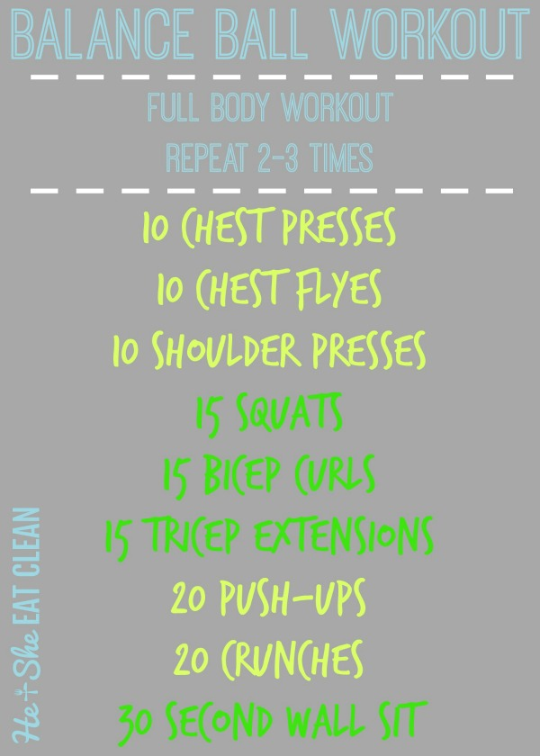 text reads balance ball workout listed exercises