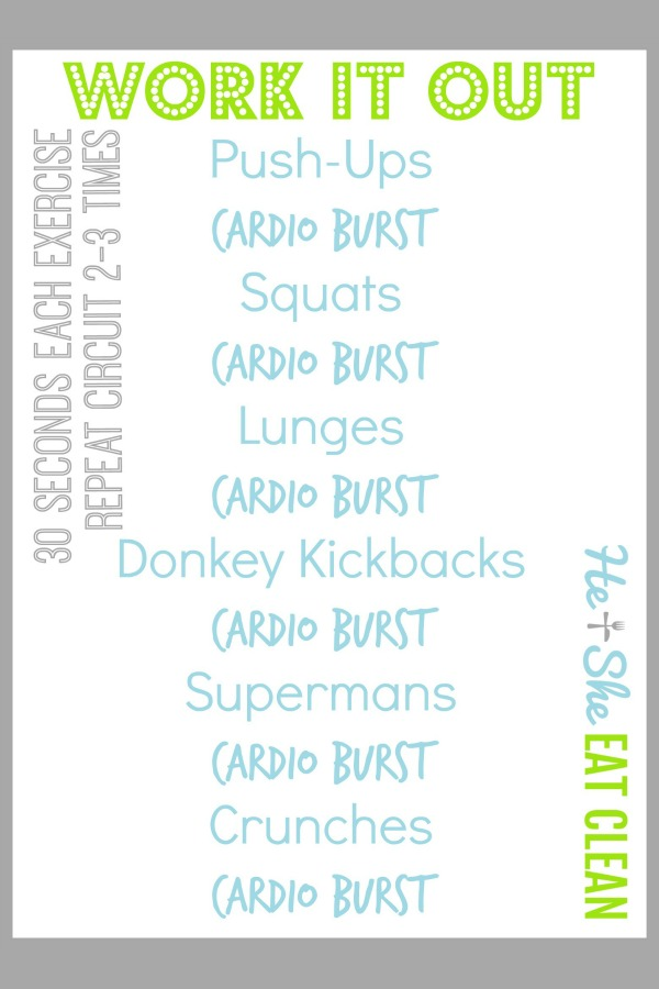 text reads work it out at home workout no equipment necessary workout listed