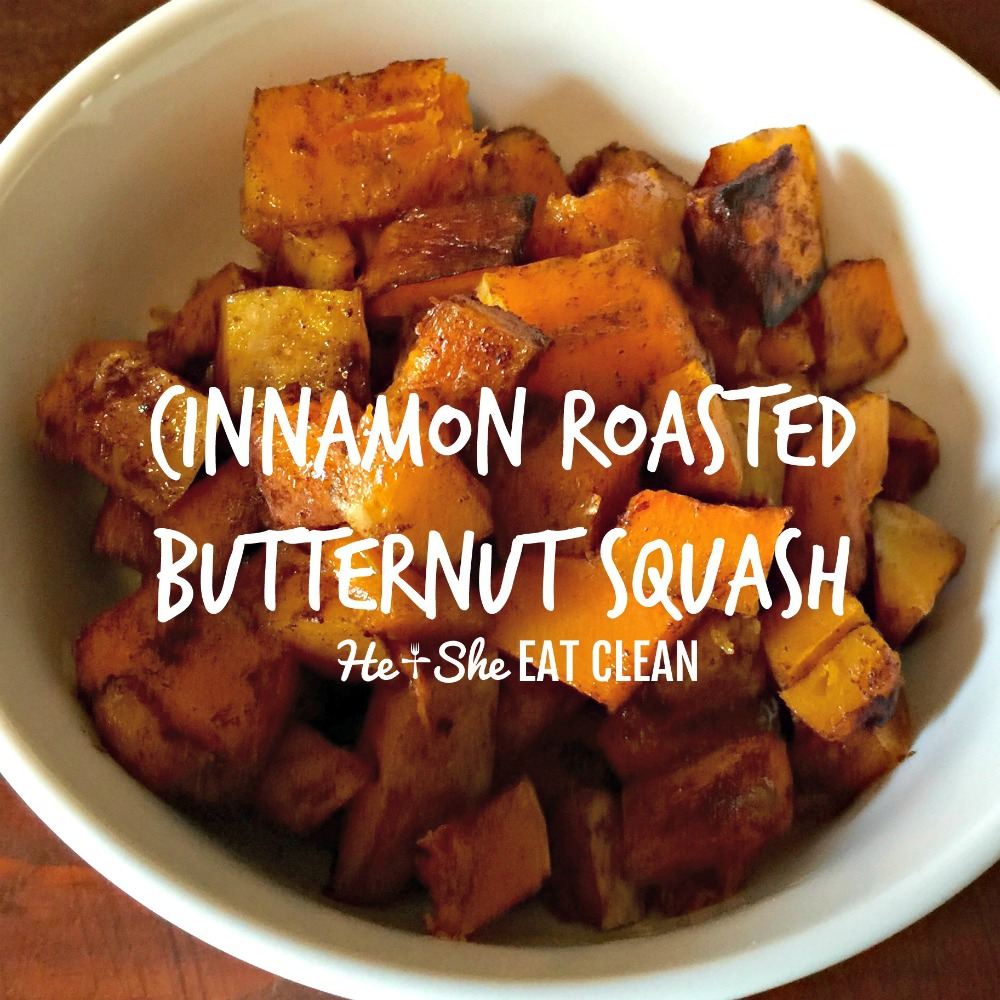 roasted butternut squash in a white bowl on a wooden table square image