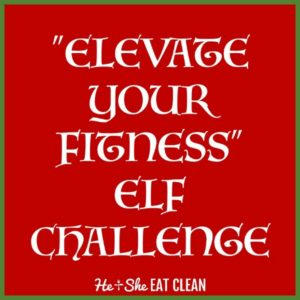 text reads elevate your fitness elf challenge