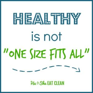 text reads Healthy is not one size fits all