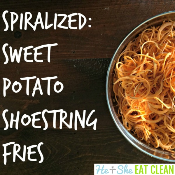 sweet potato shoestring fries in a large bowl on a wooden table