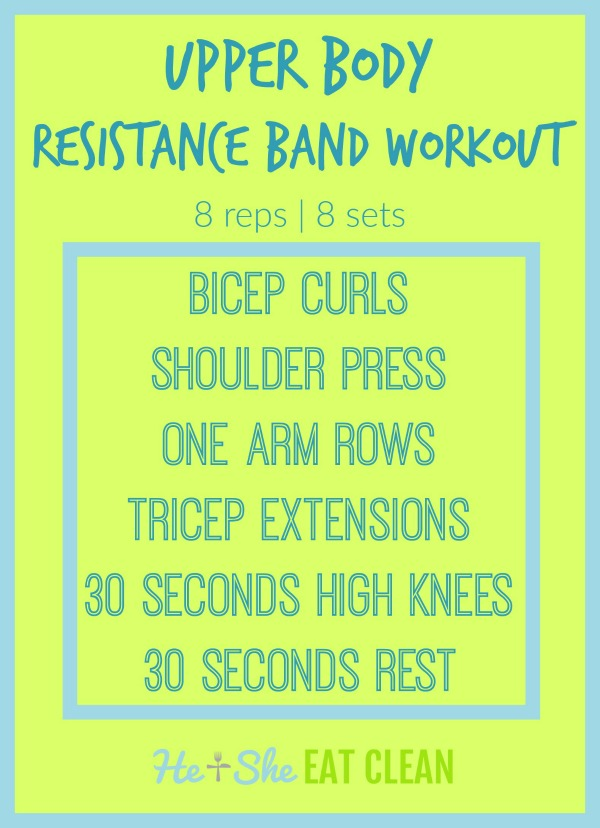 text reads upper body resistance band workout circuit