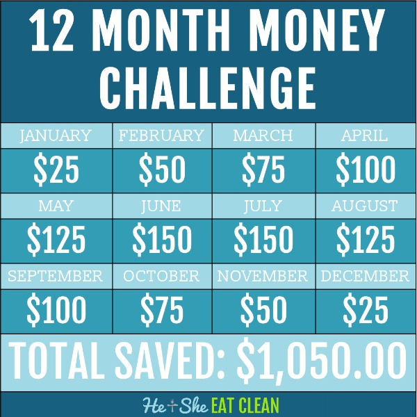12 month money savings challenge square image