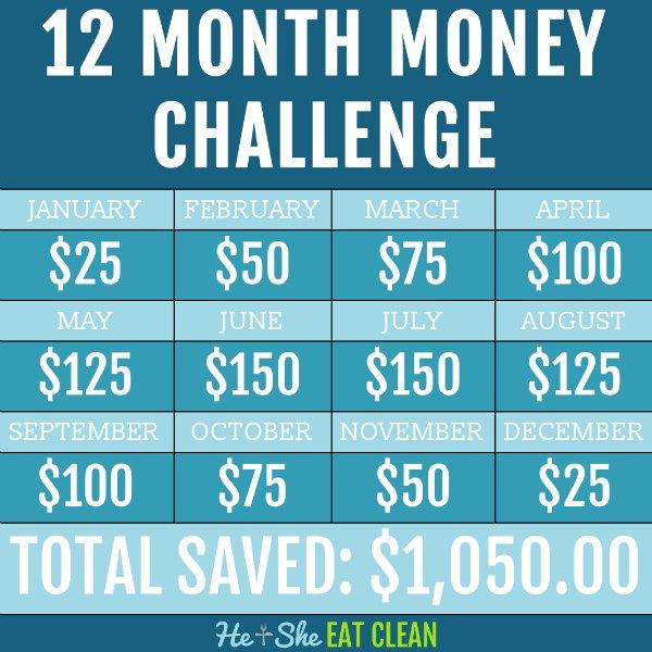 12 month money saving challenge chart