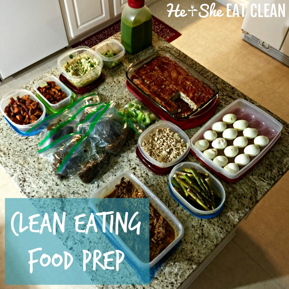food prep on a granite countertop with text that reads clean eating food prep