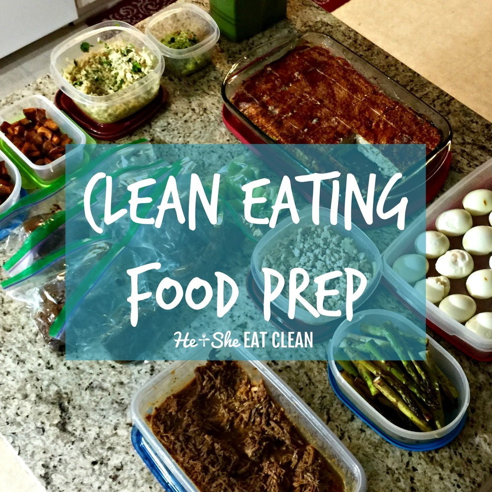 clean eating food prep on a granite countertop island