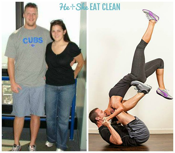 before and after of a couple's clean eating & weight lifting transformation