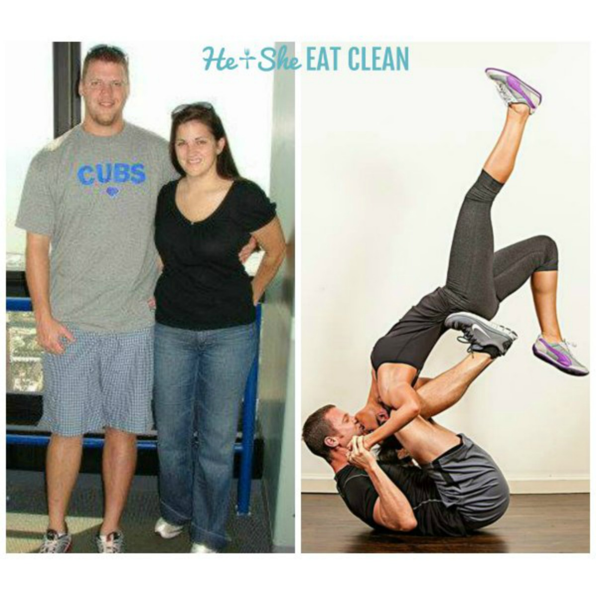 before and after picture of a couple who lost weight