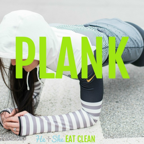 woman in workout clothes doing a plank with text that reads plank
