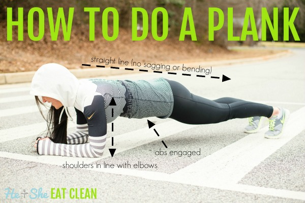 woman in workout clothes doing a plank with text that reads how to do a plank