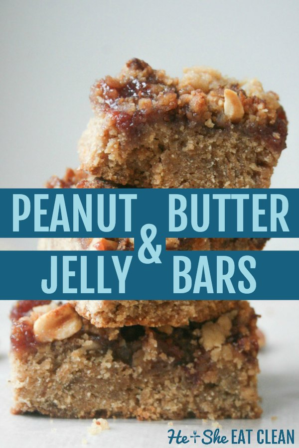 peanut butter & jelly bars stacked with text that reads peanut butter & jelly bars