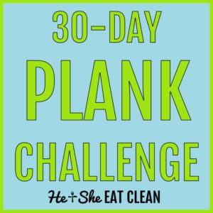 30 day plank challenge in blue and green text