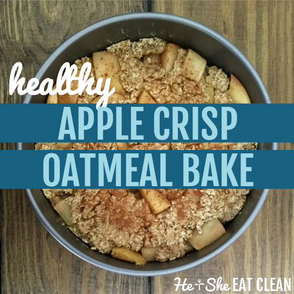 silver pan of apple oatmeal bake with text that reads healthy apple crisp oatmeal bake square image