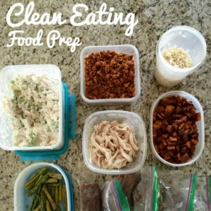 clean eating food prepped into containers on granite countertop square image