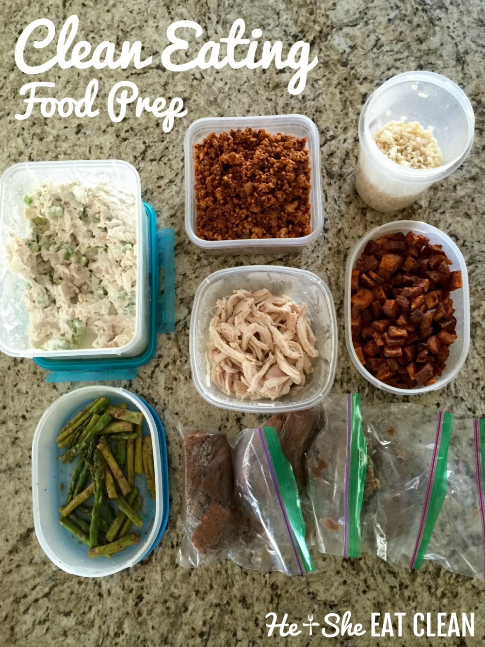 clean eating food prepped into containers on granite countertop