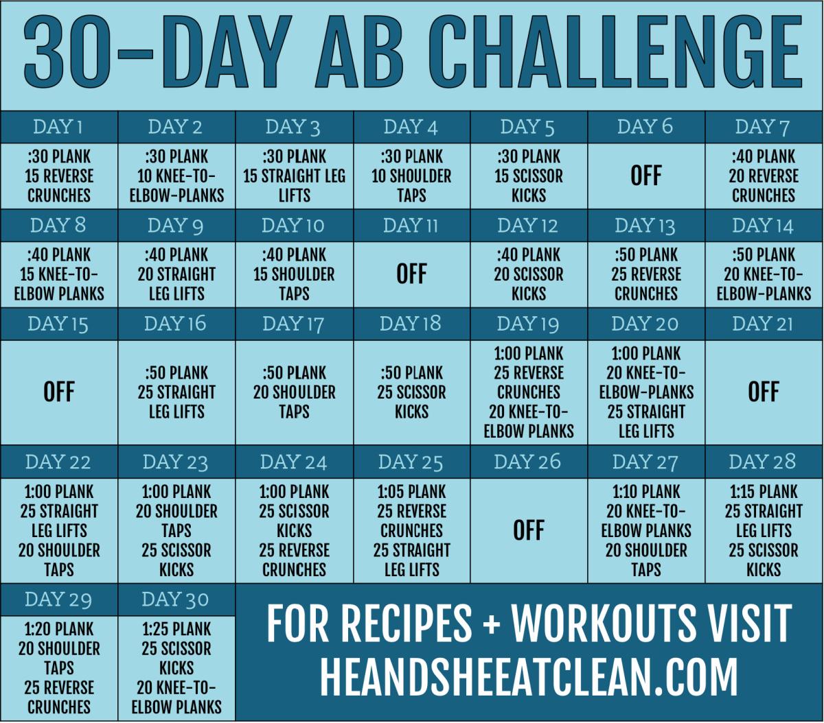 30 day ab challenge calendar