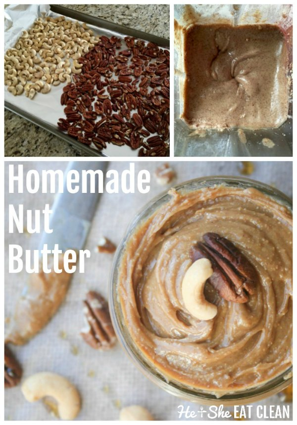collage of pictures of cookie butter on the end of a knife with cashews and pecans with text that reads homemade nut butter
