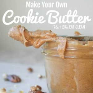 cookie butter on the end of a knife with cashews and pecans with text that reads make your own cookie butter square image