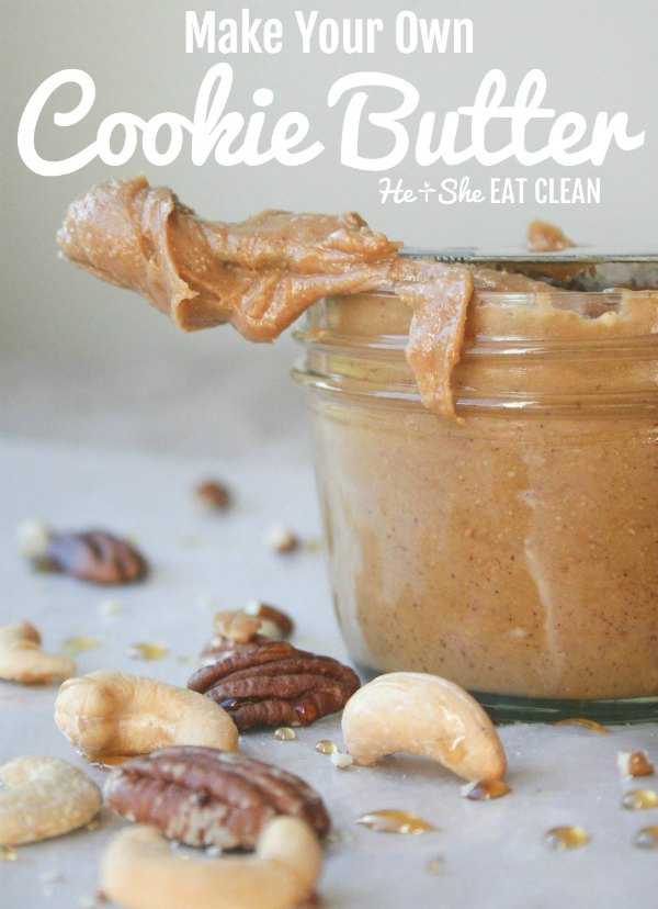 cooke butter on the end of a knife with cashews and pecans with text that reads make your own cookie butter