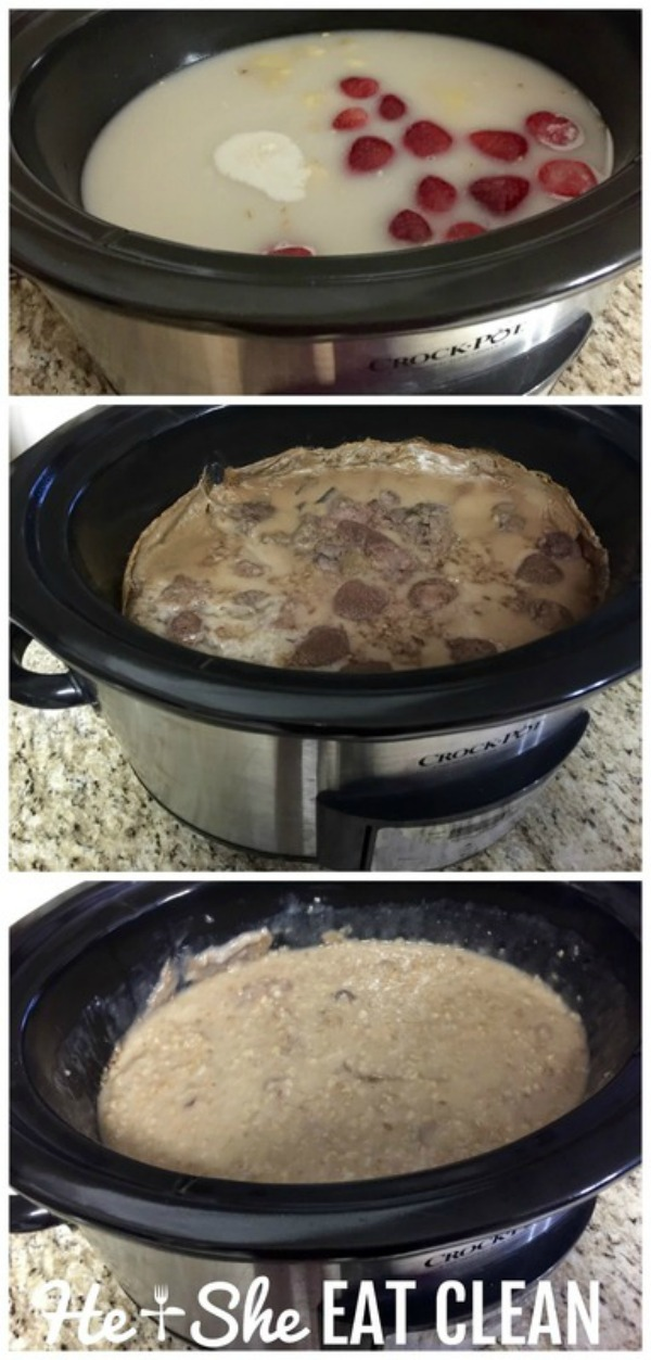 collage of overnight oats in the crockpot - strawberry banana overnight oats