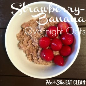 oats in a white bowl with text that reads strawberry banana overnight oats