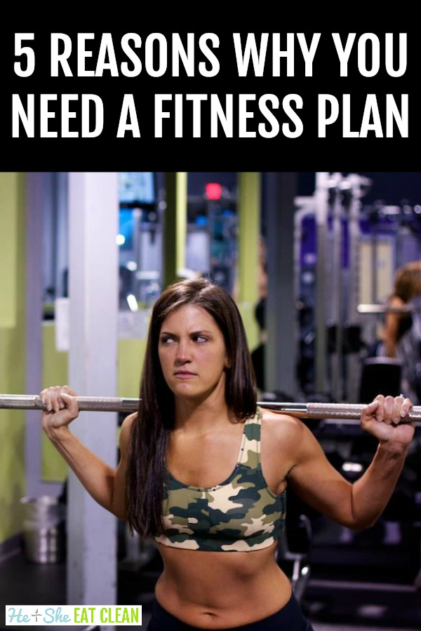 female with bar on her back in the gym with text that reads 5 reasons why you need a fitness / workout plan
