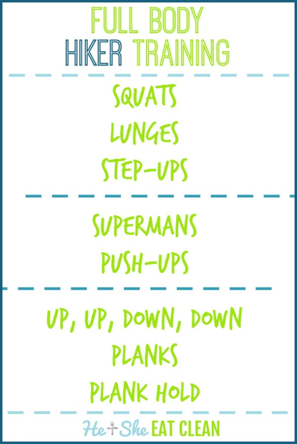 text reads full body hiker training workout listed