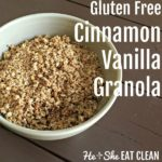 bowl of gluten free cinnamon vanilla granola on a wooden table