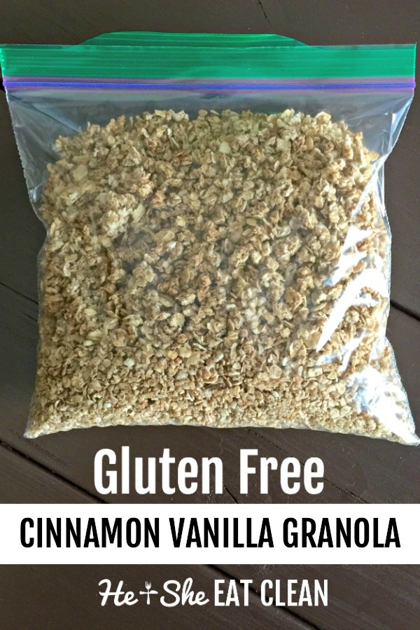 gluten free cinnamon vanilla granola in a Ziploc bag on a wooden table