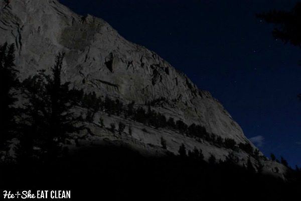 night sky looking up at the Mount Whitney Trail in California