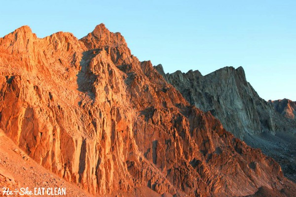 morning sun looking up at the Mount Whitney Trail in California