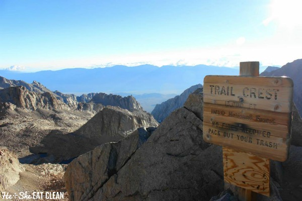 at the top of Trail Crest on the Mount Whitney Trail looking at the mountain range