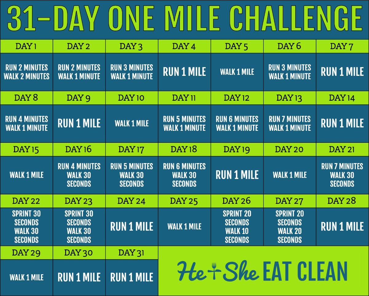 one mile per day challenge calendar