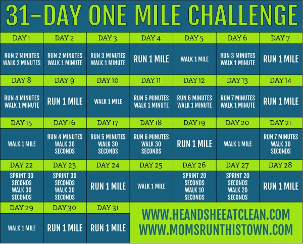31-day one mile challenge calendar