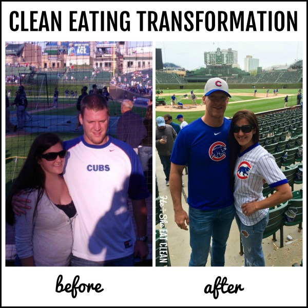 couple before and after weight loss clean eating transformation picture text reads before and after clean eating transformation