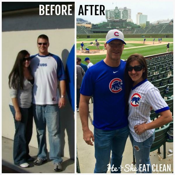 couple before and after weight loss clean eating transformation picture